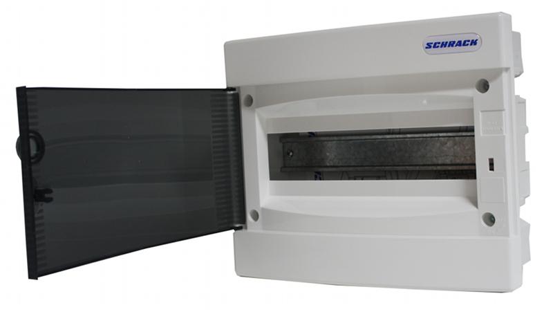Rozvodnice zapuštěná, 1x8 modulů, dveře průhledné, IP40
