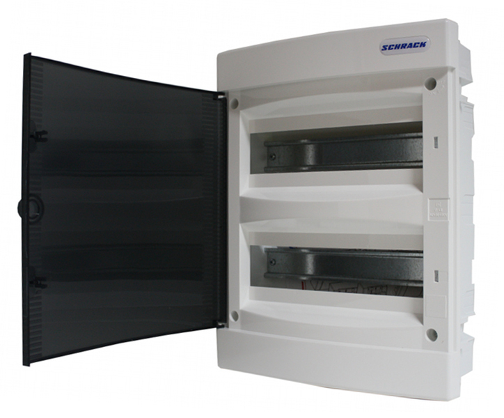 Rozvodnice zapuštěná, 2x12 modulů, dveře průhledné, IP40